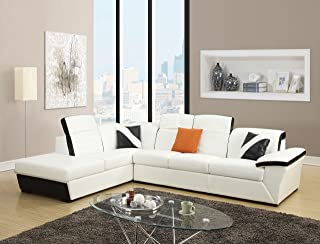 Major-Q 51625-AIR Leather Black and White Sectional Sofa