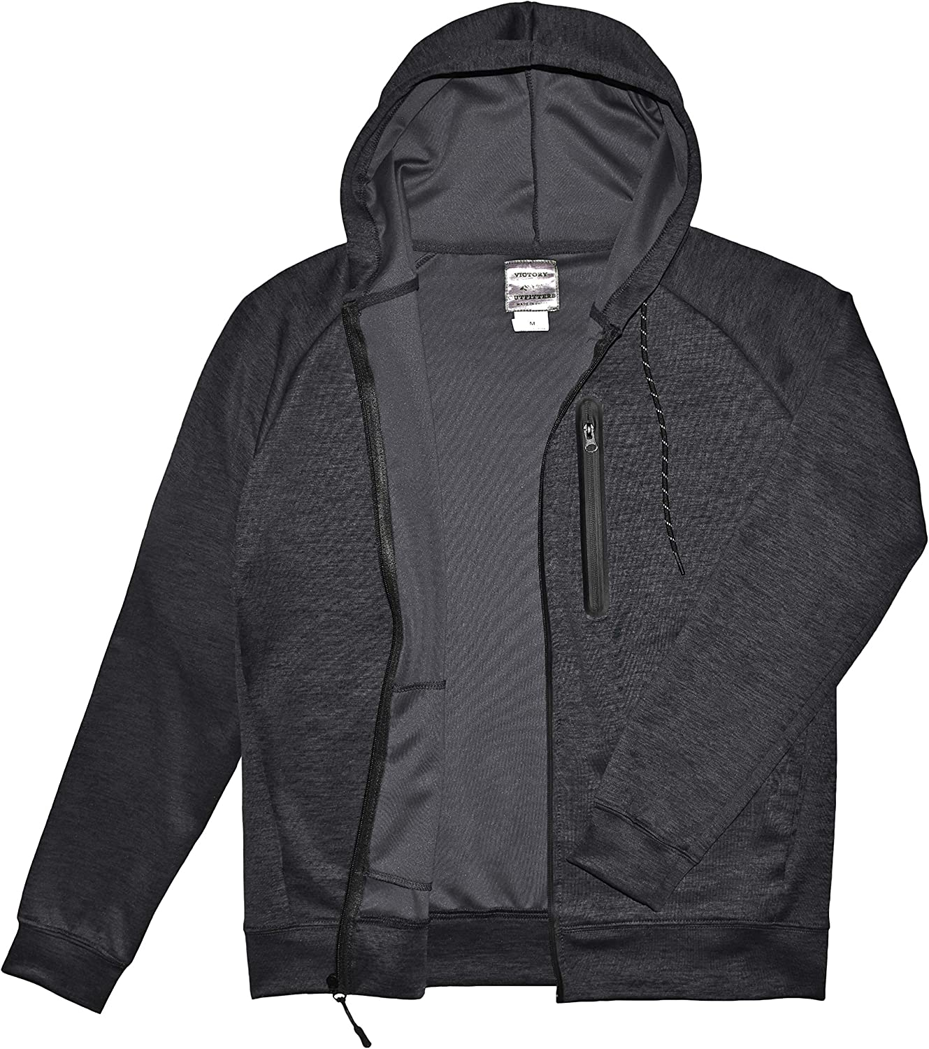 Victory Outfitters Men's Active Space-Dye Zip-Up Hoodie with Tech Pockets