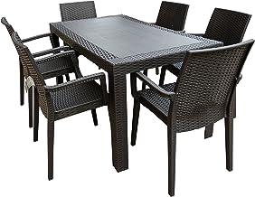 Tavoli Da Giardino In Midollino.Amazon It Tavolo Con Sedie In Rattan Grigio