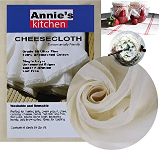 Annie's Kitchen Cheesecloth, Grade 90, 54 Sq Ft, 100% Unbleached Cotton Fabric, Ultra Fine cheese cloths for cooking, Stra...