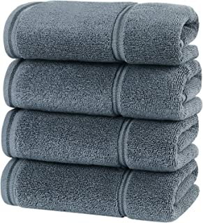 HOULIFE Premium Cotton Hand Towels Set of 4 - Super Soft and Highly Absorbent Hand Towels for Bathroom Daily Use (Dark Gre...