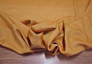 Tessuto al metro per decorazioni natalizie color arancione e con prezioso filato in lurex dorato (Perseo col. 260)