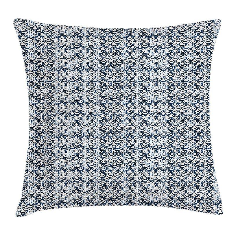下る発動機確執Tie Dye Throw Pillow Cushion Cover, Far Eastern Scales Messy Curves with Vertical Stripes and Grungy Look, Decorative Square Accent Pillow Case, 18 X 18 inches, Navy Blue and Cream