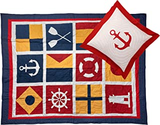 Pink Guppy, 100% Cotton Quilt/Coverlet with Anchor Quilted Euro Sham, Twin Bed Size in White, Navy, Red & Yellow with Nautical Flags & Motifs (2 Pc Bedding Set)