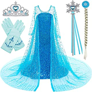 Princess Costume Long Cape Birthday Party Dress up with Crown,Magic Wand,Wig,Gloves for Little Girls 2-10 Years