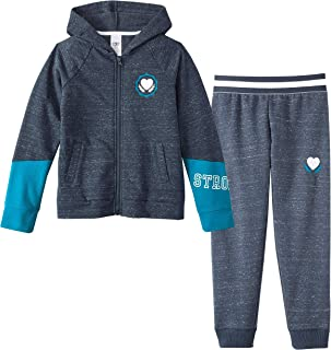 Athletic Works Girls' Color Block Graphic Fleece Hoodie/Joggers Sweatsuit (Blue Cove, X-Large XL, 14/16)