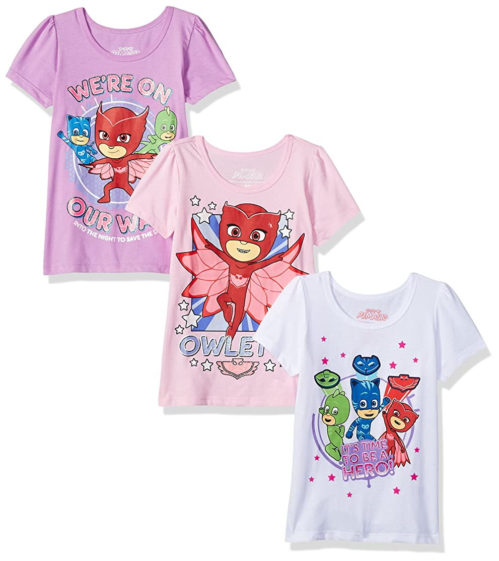 PJ Masks Girls' Toddler 3 Pack Graphic Tees, Multi A A, 5T