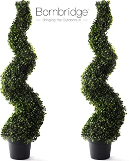 Bornbridge Artificial Spiral Topiary Tree - 4' Spiral Boxwood - Indoor/Outdoor Topiary - Faux Boxwood Artificial Outdoor Plants - Lifelike Buxus Boxwood Plant (2 Pack)