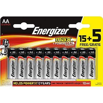 Energizer - Pack de 20 Pilas alcalinas MAX LR6 AA, 50% más de Rendimiento, 1.5V: Amazon.es: Electrónica