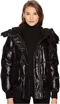 The Kooples - Technical Satin and Faux Fur
