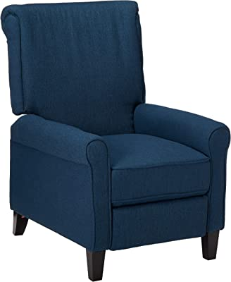 Christopher Knight Home Charell Traditional Fabric Recliner, Navy Blue / Dark Brown