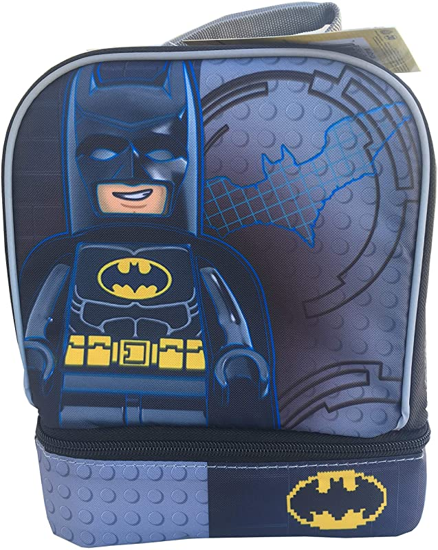 LEGO Batman Back To School Insulated Lunchbox Lunch Bag With Drop Down Zippered Compartments