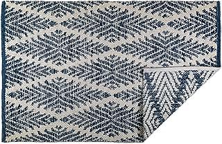 DII CAMZ10422 Indoor Flatweave Cotton Handloomed Yarn Dyed Woven Reversible Area Rug for Bedroom, Living Room, Kitchen, 2x3', Diamond Navy Blue
