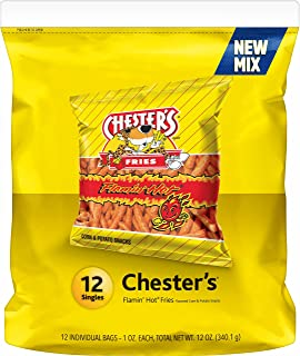 Chester's Fries Flamin' Hot Flavored Snacks, 12 Count, 1 oz Bags