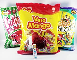 Vero Pack of 3: 1 Mango Chili Covered, 1 Watermelon Bollitochas and 1 Bolitochas Mix Flavor Authentic Mexican Candy with Free Chocolate Kinder Bar Included