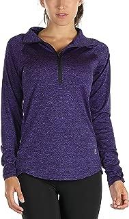 icyzone Women's Workout Yoga Track Jacket 1/2 Zip Long Sleeve Running Shirt