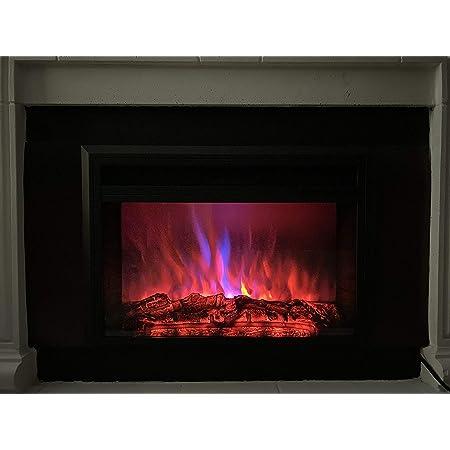 XBrand - Calentador de Chimenea con Mando a Distancia y Efecto de Llama LED, 25 Pulgadas de Largo, Color Negro