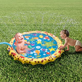Sprinkle and Splash Play Mat, 39in-Diameter Splash Play Mat, Water Outdoor Mats for Hot Summer Swimming Party Beach Pool Play, Kids Summer Gifts (Blue 1)