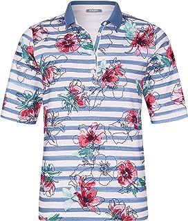 Rabe Damen Poloshirt gestreift mit Blumen