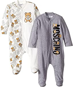 Moschino Kids - Logo Teddy Bear Lettering Two-Piece Footie Gift Box Set (Infant)