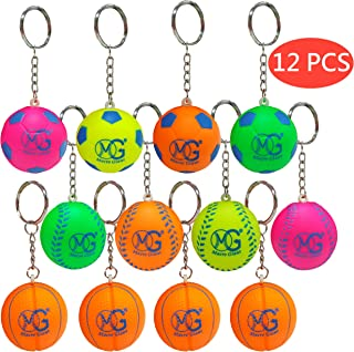 Macro Giant 1.5 Inch (diameter) Foam Sports Ball Keychains, Set of 12, Basketball, Football, Baseball, Neon Colors, Keyring