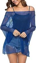 LYHNMW Womens Bikini Crochet Cover-ups Long Sleeve Summer Beach Tops Sexy Perspective Cover Dresses Net Coverups