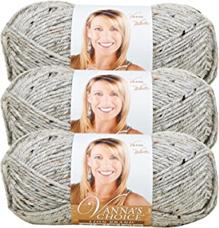 (3 Pack) Lion Brand Yarn 860-401F Vanna's Choice Yarn, Grey Marble
