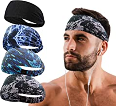 Sports Headband hairband for men 4 PACK double sleeved Running Cycling Yoga Tennis Gym Crossfit Hiking camping Beach Stret...