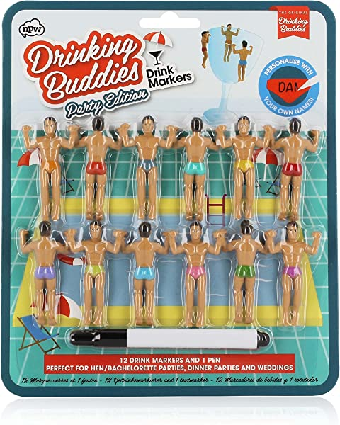 NPW Drinking Buddies Cocktail Wine Glass Markers 12 Count Classic