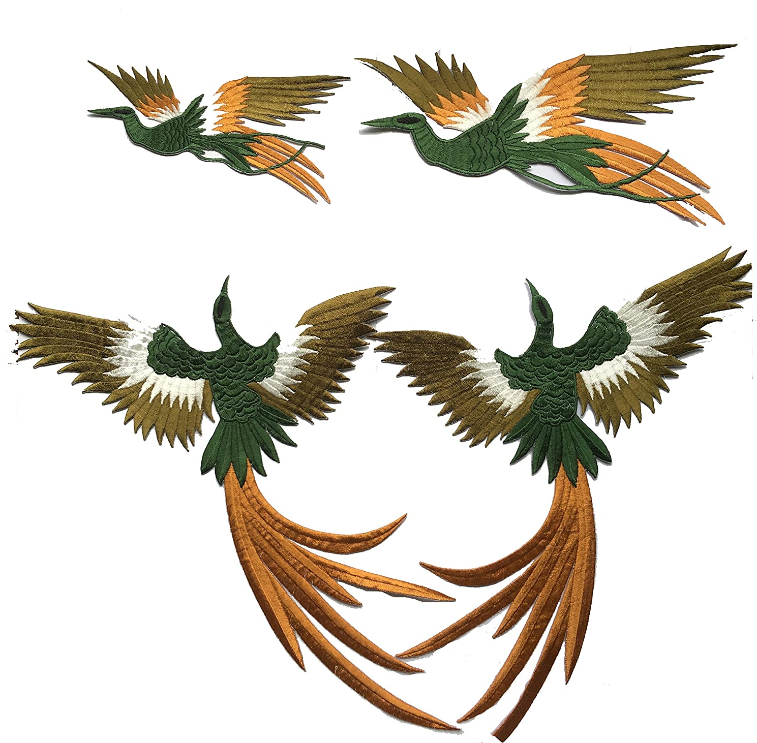 Four Phoenix Set Applique Sewn On or Iron on Patches Embroidered Garment DIY Accessory