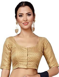 STUDIO Shringaar Women's Zari Brocade Stitched Elbow Length Sleeves Saree Blouse.