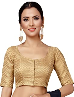 GOLDEN Art Silk Beaded Work Blouse Marriage Readymade Choli Stitched Top Saree Wedding Party Wear Tunic Sari for Women