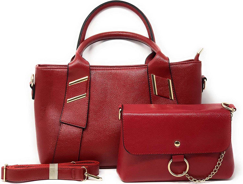Duke and Daizee Women's PU Leather 2 pc Classy Handbag Tote Crossbody Shoulder Bag Purse Set