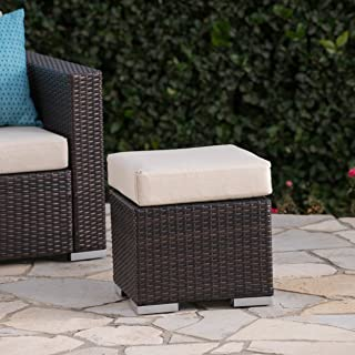 Great Deal Furniture Malibu Outdoor 16 Inch Multibrown Wicker Ottoman Seat with Beige Water Resistant Cushion