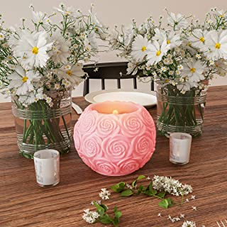Lavish Home LED Candle with Remote Control-Rose Ball Design Scented Wax Realistic Flickering or Steady Flameless Sphere Li...
