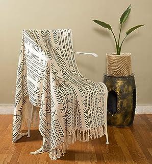 دستباف-کاخ دستبند خانگی پنبه ای تزئینی مبل تختی مروارید انداختن پتو نخی با حاشیه - 50x70 اینچ (بت Ikat)