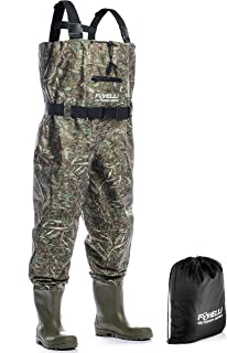 Foxelli Nylon Chest Waders – Camo Fishing Waders for Men with Boots – Use for Fly..