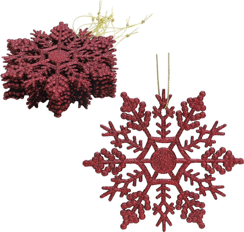 Paquete de Decoraciones Colgantes de Copos de Nieve con Brillo de 12-10 cm - Decoraciones navideñas ... (Rioja Rojo)