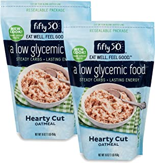 Fifty50 Foods Kosher 100% Whole Grain Rolled Oats Hearty Cut Oatmeal, 16 Ounce (Pack of 2)
