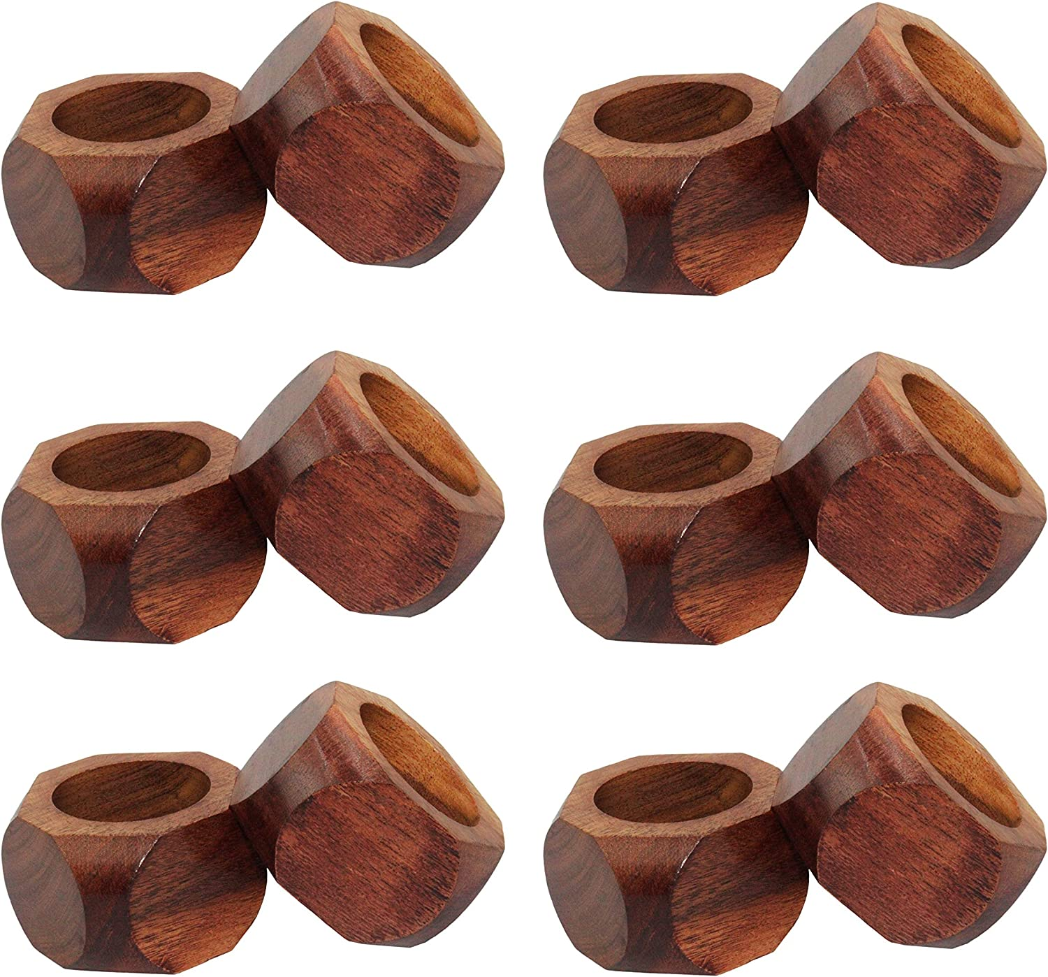 COTTON CRAFT Chunky Octagon Handmade Wood Dining Table Napkin Rings - Set of 12 - Halloween Harvest Autumn Fall Thanksgiving Holiday Christmas Xmas Celebration Festive Party Gift Décor - Dark Natural