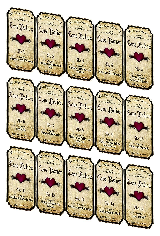 Department Max 75% OFF store Vintage Valentine 15 love potion laminate labels bottle stickers
