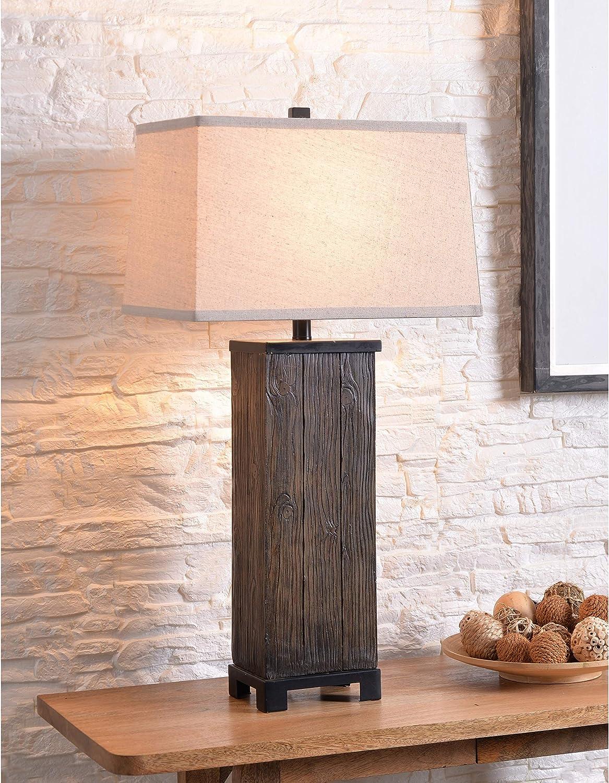 Wood Grain 31 Philadelphia Mall Inch Latest item Table Farmhouse Lamp Brown Rustic