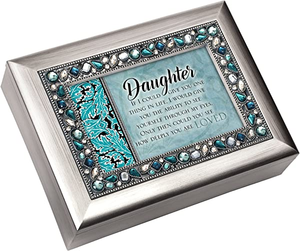 Cottage Garden Daughter Give You One Thing Brushed Silvertone Jewelry Music Box Plays You Light Up My Life