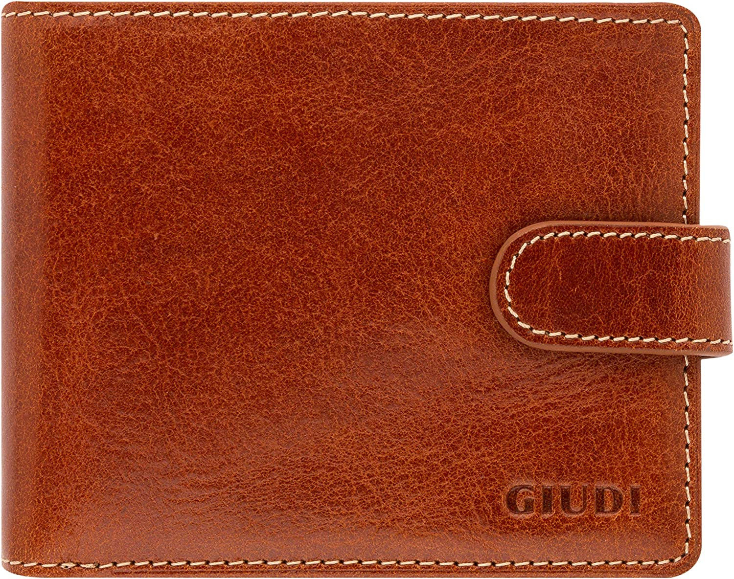 Giudi Deluxe Genuine Leather Bifold Mens Wallet – Made in Italy – Beautiful Light Brown Color – 3 Credit Card Slots – Coin Pocket – Button Snap Closure – Excellent Gift for Men