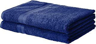AmazonBasics Fade-Resistant Cotton Bath Sheet Towel - Pack of 2, Navy Blue