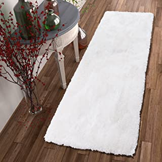 Shimmer Shag Snow White Solid Plain Modern Luster Ultra Thick Soft Plush Area Rug 2 x 7 ( 2'7