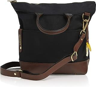 R. Riveter Otto Signature Black Canvas & Brown Leather Handbag with Crossbody Strap
