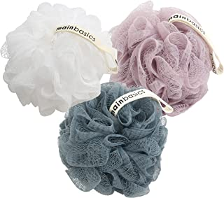 MainBasics Bath Shower Loofah Sponge Pouf Body Scrubber Exfoliator (Set of 3)