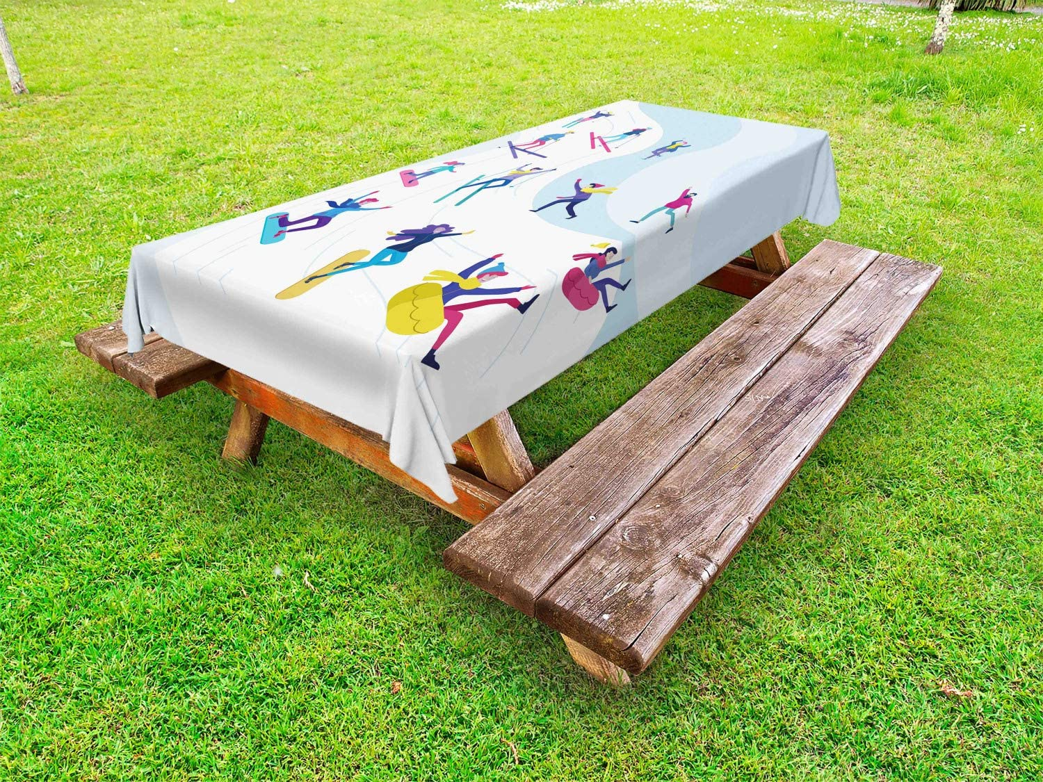 Ambesonne Winter Jacksonville Mall Outdoor Tablecloth Cartoon Colorful Characters Ranking TOP4