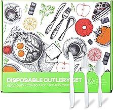 مجموعة أدوات مائدة قابلة للاستعمال مرة واحدة شديدة التحمل من CHANG YA - 180 شوكة و120 ملعقة و60 سكين